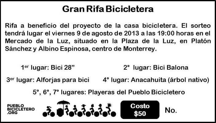 Boleto Gran Rifa Bicicletera