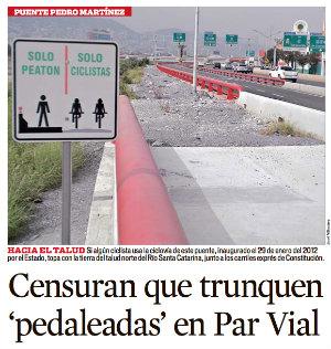 truncan ciclovías en área metropolitana de monterrey 2013