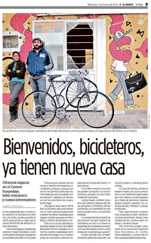 Nota El Norte 1 ene 2014 casa bicicletera