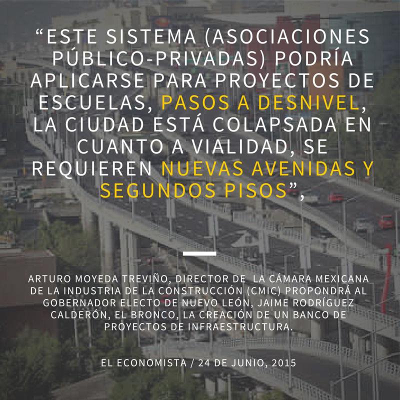 CMIC quiere pasos a desnivel y segundos pisos con APPS en Nuevo León WEB