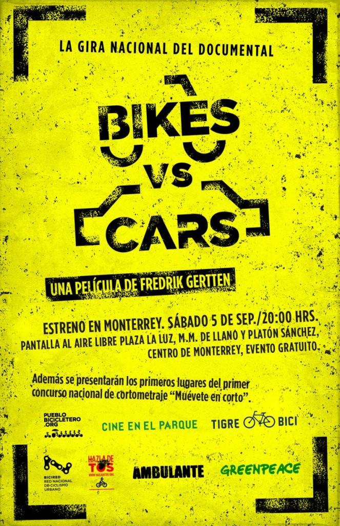 Estreno película Bike vs Cars en Monterrey - 5 septiembre 2015