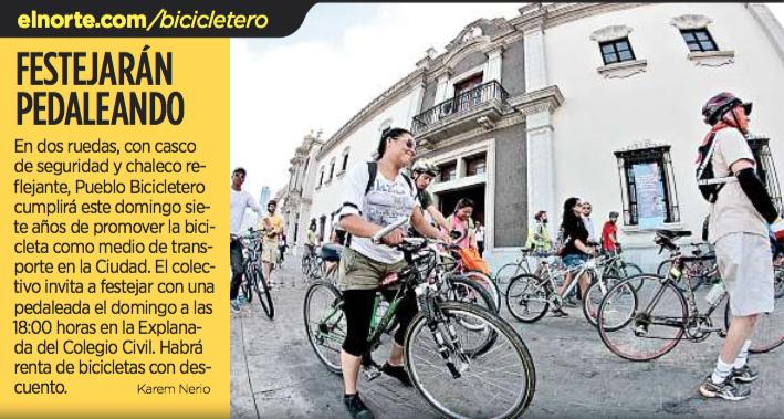 Festejarán Pedaleando. Nota Karem Nerio - El Norte 21 abril 2016 - Pueblo Bicicletero