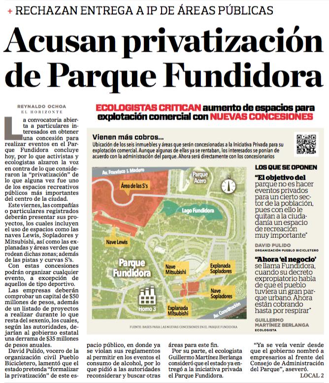 Acusan privatización de parque fundidora - portada el Horizonte - 15 jun 2016